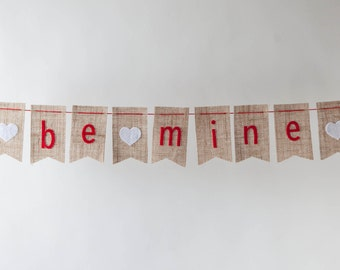 SALE Be Mine Bunting Valentine's Day with Hearts on Natural Burlap