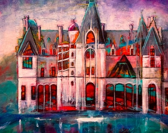 Modern Bold Colorful Expressionist BILTMORE ESTATE Giclee Print on Canvas of the original painting from 2013 Asheville North Carolina
