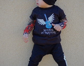 Rocker in Training Embroidered Tattoo Sleeve Shirt