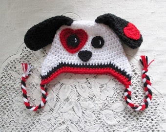 Valentine's Day - Puppy Dog Crochet Hat - Available in Any Size or Color