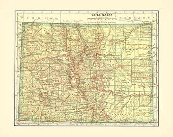 Antique COLORADO MAP 1906 Instant Digital Download