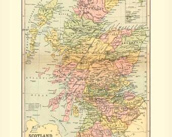 Antique SCOTLAND Map Instant Digital Download 1895