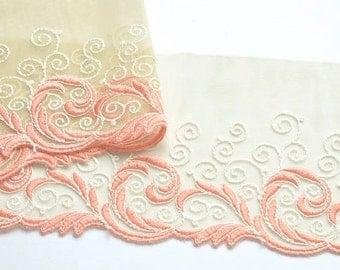 Apricot, Salmon and Ivory Lace Trim,  Peach Lace,  Pink Coral Lace Trim, Dolls, Wedding Dress Lace, Lingerie, Mantillas, etc