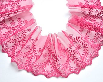"5"" Fuchsia Lace Trim, Dark Pink Embroidered Stretch Trim, Dolls, Mantillas, Lingerie, Costume, Lace Fashions"