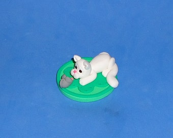 Polymer Clay White Cat and Mouse on Rug