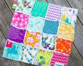 20% Off Summer Sale, Bright Utopia Deer and City and Wildlife Rag Quilt Lovey, Ready to Ship