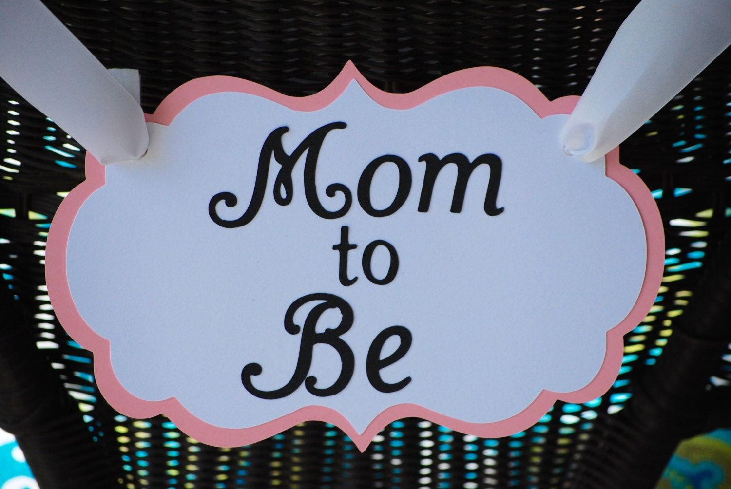 mom to be pink baby shower chair sign by cutiepiepartyshoptoo