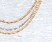 Triple Strand Necklace - Golden Silver and Golden toned Flat Chain - Signed Monet