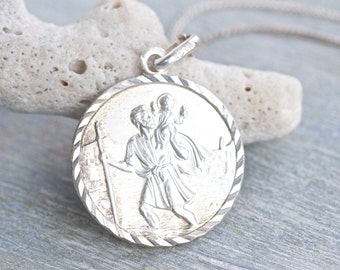 St Christopher Sterling Silver Medallion Necklace - Engraved To John Love from Trish - London 1987