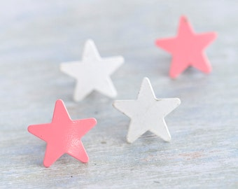 I Star You - Eighties Metal Clip on Earrings - Set of 2 Pairs in Pink and White