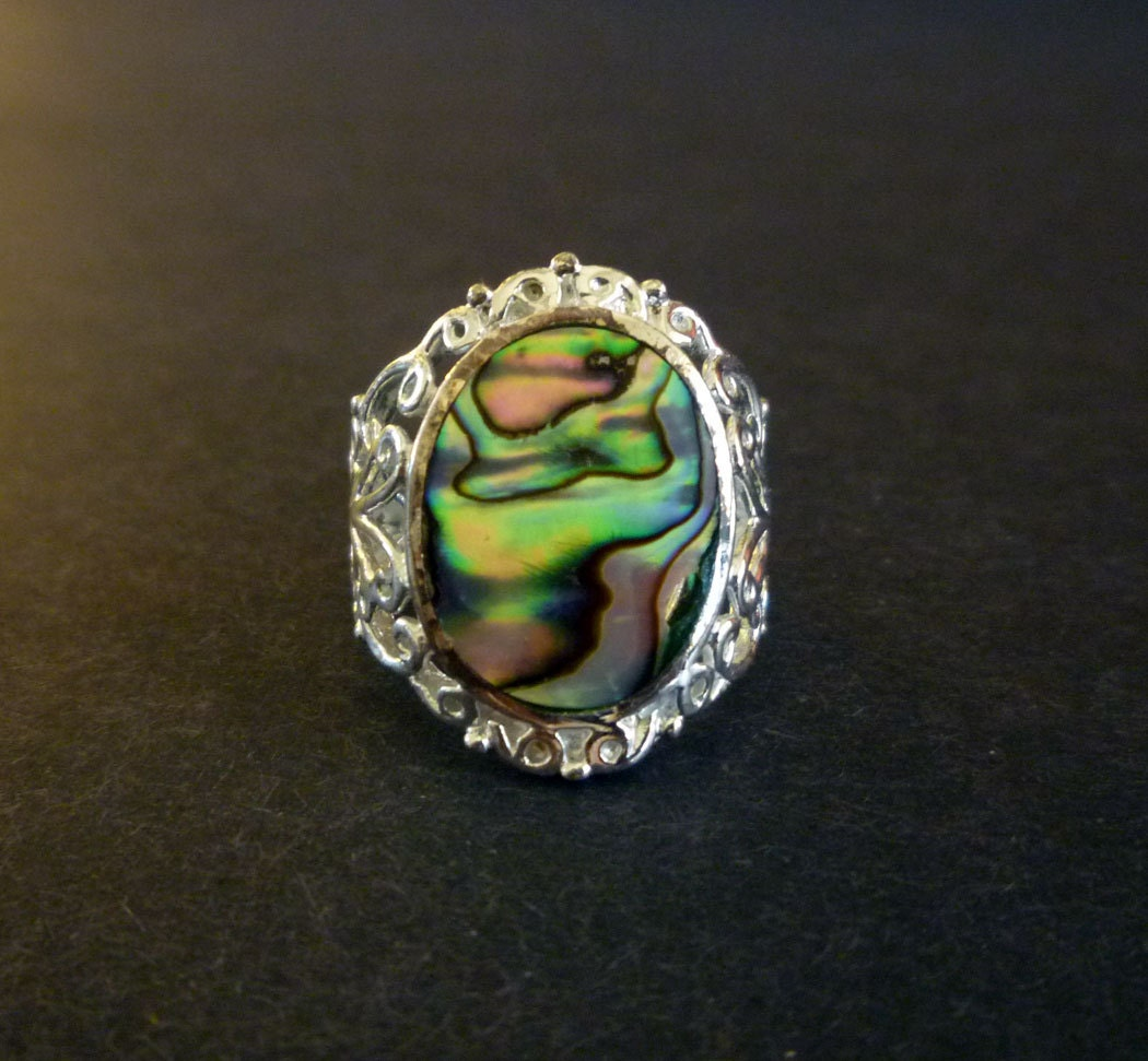 Vintage Abalone Ring Modena Silver 925 Filigree Ring