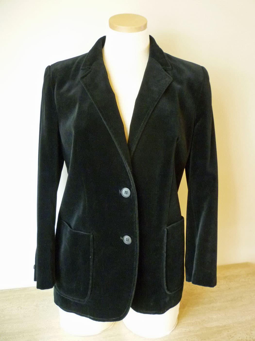 Black Velour Blazer Jacket for Women Made in Belgium Size