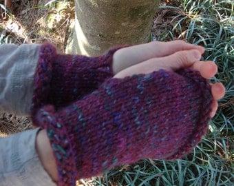 Purple Variegated Short Fingerless Gloves