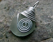 Silver Spiral Sea Glass Pendant, Silver Wire Wrapped, Surf Tumbled Sea Glass Jewelry, Handmade SeaGlass Pendant, Gift Idea for Her