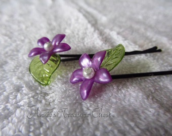 Purple Flower Bobby Pins