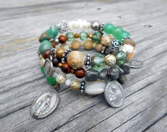 Green Wrap Bracelet, Religious Medals, Boho, Wrap, Stacked, Turquoise, Aventurine, Pyrite, Rosary, Vintage Repurposed, Upcycled, Recycled