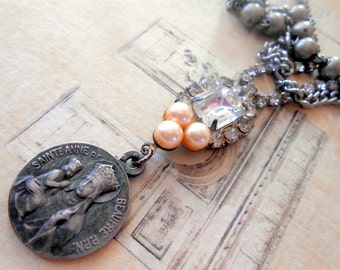 Layered Religious Necklace, Assemvblage, Saint Anne Medal, Ann, Vintage Repurposed, Recycled, Upcycled, Multi Strand, Rhinestone, Rosary