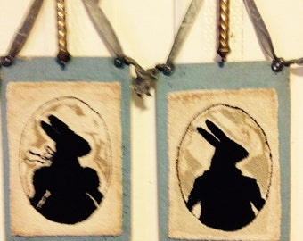 Primitive Bunny silhouette wall hangings