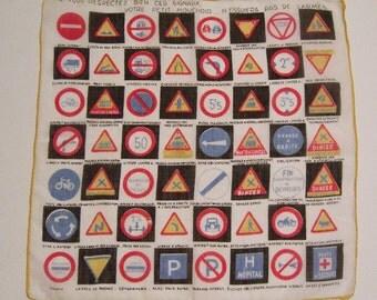 SALE - Vintage Warning Signs Hankie
