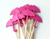 10 Hot Pink Umbrella Cupcake Toppers, Birthday Party, April Showers, Food Pick, Baby Girl