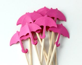 12 Hot Pink Umbrella Cupcake Toppers, Birthday Party, Food Pick, Baby Girl