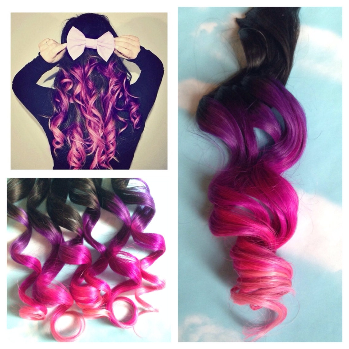 Pink and purple hair clip extensions pink ombre hair purple zoom pmusecretfo Image collections