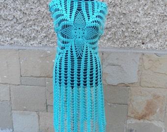 SUMMER SALE Aqua Blue Dress, Crochet Turquoise Dress, Aqua Tunic, Summer Beach Dress, Lace Tunic Crochet Resort Dress, Aqua Blue Handmade