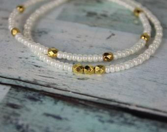 White Pearl/Gold Beaded Bracelets