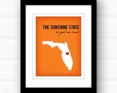 Florida state art // Florida map // custom Florida print // custom state wall art // personalized geography print