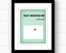Colorado art // Colorado map // Rocky Mountain High // Colorado decor
