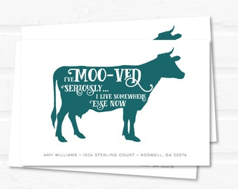 cow moving announcemnent // we've moo-ved // funny moving announcement // printable postcard