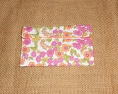 Organizational Pouch–Gift Cards-First-Aid Kit Portable Travel Size Pouch–Powdered Drink pink and orange flowers on white-green leaves