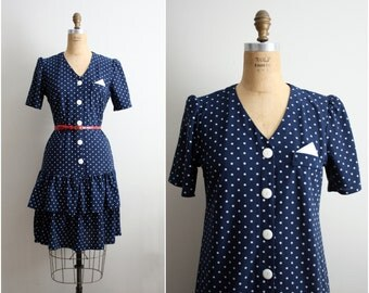 It's never enough Polka dots Dress. 80s Navy blue & White polka Dot Dress. Size M/L