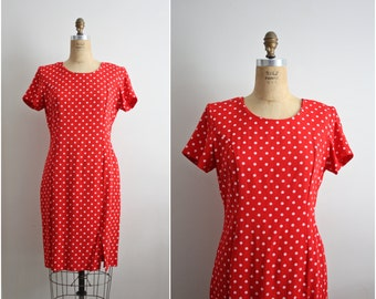 80s Polka Dots Red Dress. Valentine's Day Dress. Giggle Dress. Size S/M