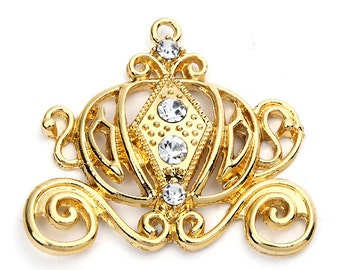 Gold Cinderella Carriage Rhinestone Chunky Bead Pendant Bling Bubblegum necklace pendant