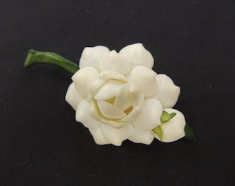 Vintage White & GreenShell Floral Flower Brooch Pin