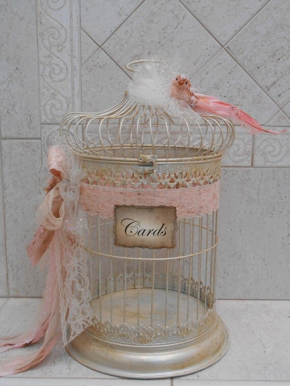 Birdcage wedding card holder shabby birdcage vintage for How to decorate a money box