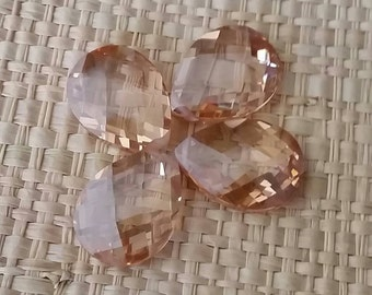Faceted Champagne Briolettes CZ Cubic Zirconia Crystal Beads- Medium 16x12mm-1 bead