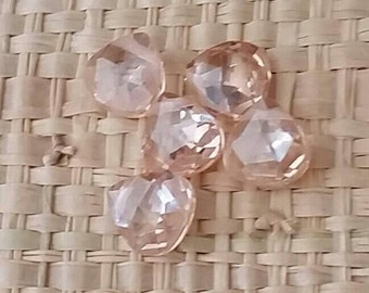 Champagne Briolettes Faceted CZ Cubic Zirconia Crystal Beads- Tiny 6x6mm-1 bead