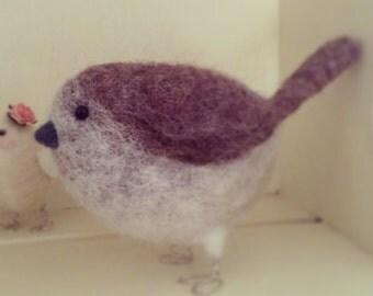 Medium Needle Felted Wren Bird Ornament