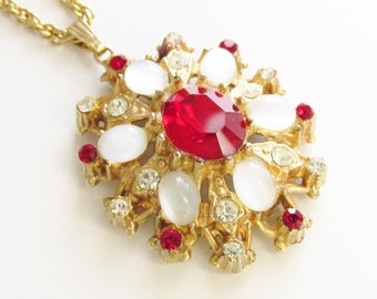 Vintage Milk Glass Cabochon Red Rhinestone Pendant Necklace