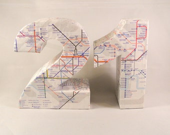 SALE 60% OFF Discounted 2012 London Tube Map Covered Numbers 3D Freestanding Decorative Ornament Travel Gift Globetrotter Birthday Table