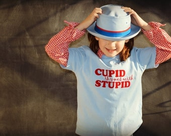 Cupid Rhymes With Stupid, kids funny Valentine T-shirt, anti-Valentine's Day