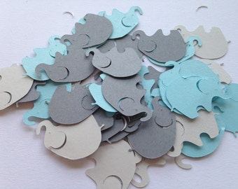 Elephant Baby Shower, 100 Elephant Confetti, Blue Gray Elephant, Elephant  Cut Out,