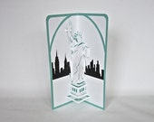 STATUE of LIBERTY & NY Skyline 3d Pop Up NATURALIZATiON Wishes Card Home Decor Hand Cut in White, Shiny Black Metallic Green Folds Flat OOaK