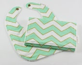 Mint and Gold Chevron Minky Baby Bib and Burp Cloth Gift Set, Baby Shower Gift Set, READY TO SHIP