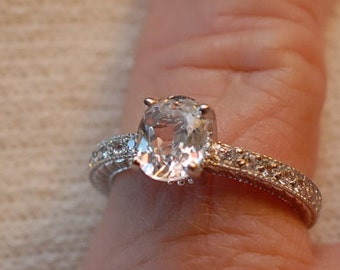 1.25ct White Sapphire Engagement Ring with Accents