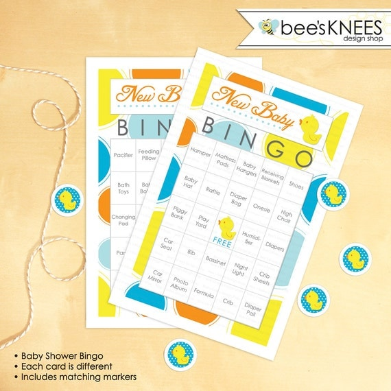 Baby Shower Bingo 30 Printable Cards Game Rubber Ducky