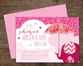 Showered with Love Baby Shower Invitations (Pink) – Printable