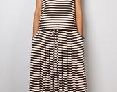 PLUS SIZE Maxi Dress -  Sleeveless Brown Striped dress : Autumn Thrills Collection No.9
